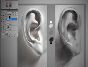 digital painting and sculpture