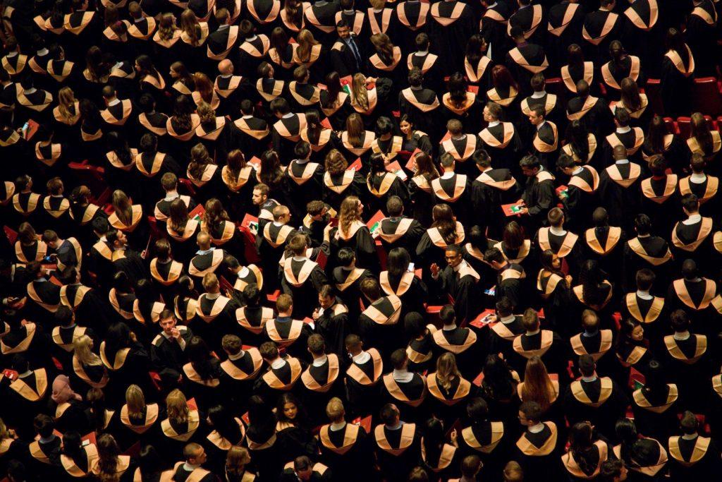 Aerial view of multimedia arts graduates