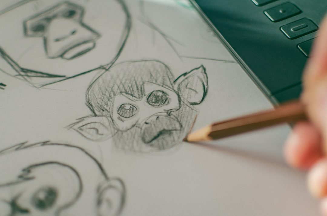 A student sketches monkey to practice his drawing skills for animation school