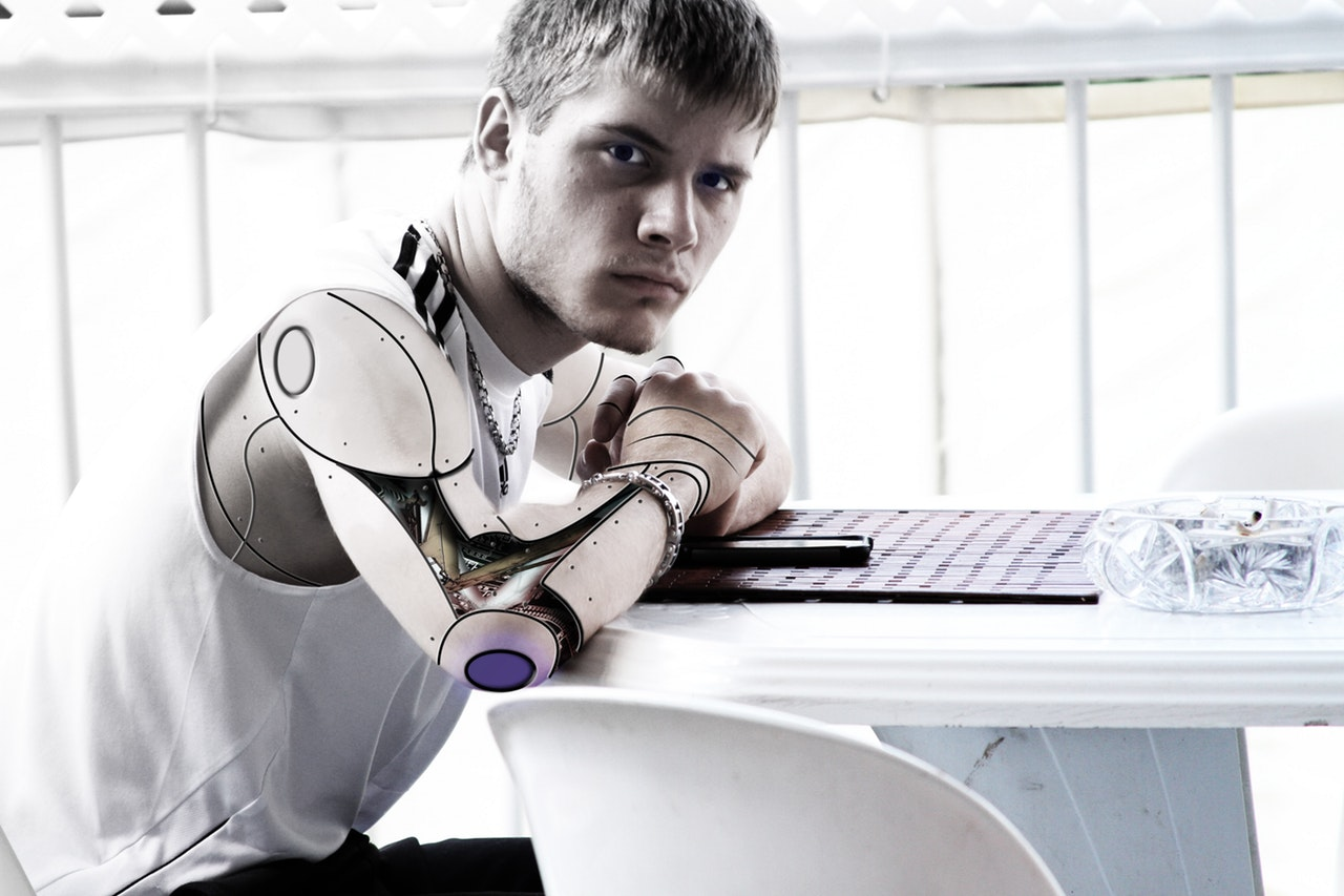 man with robotic arms