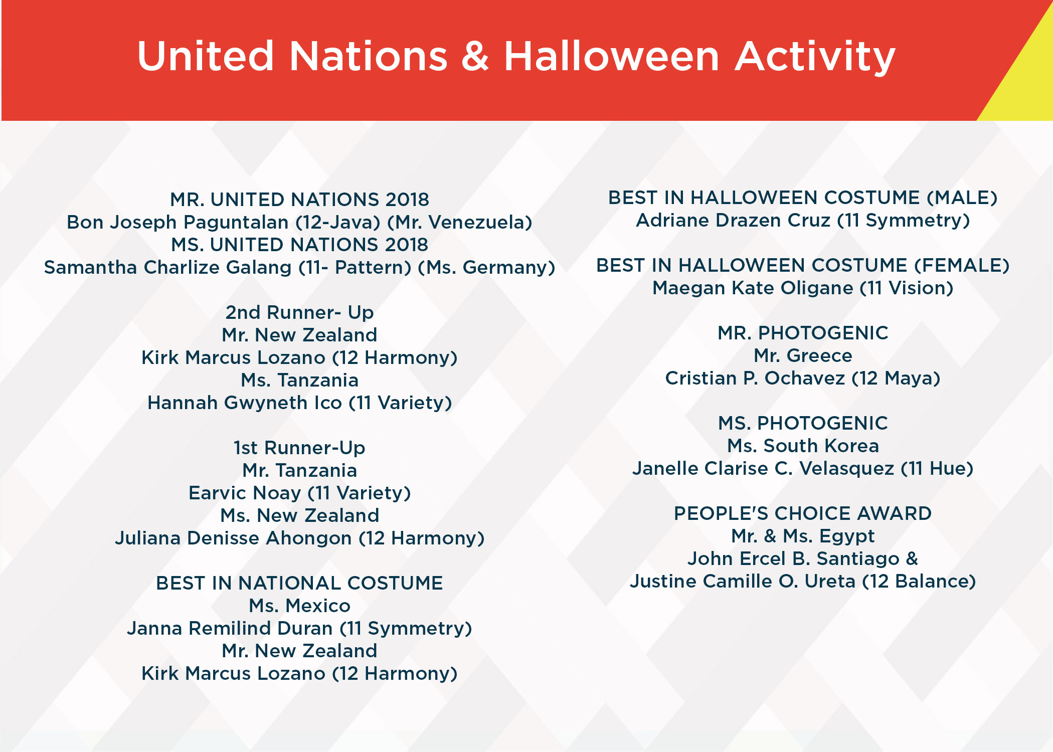 CIIT UN and Halloween Celebration Activity Winners