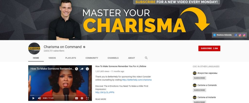 Charisma on Command YouTube Channel