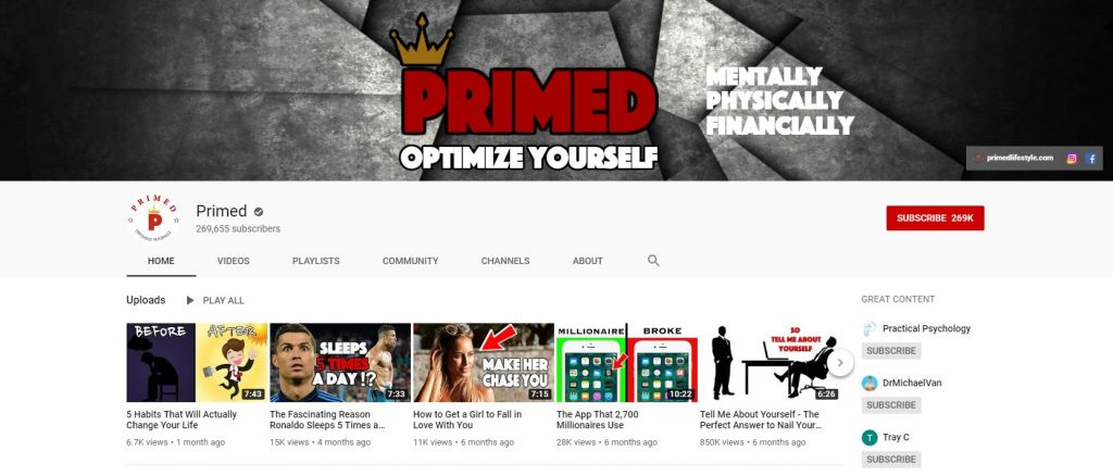 Primed YouTube Channel