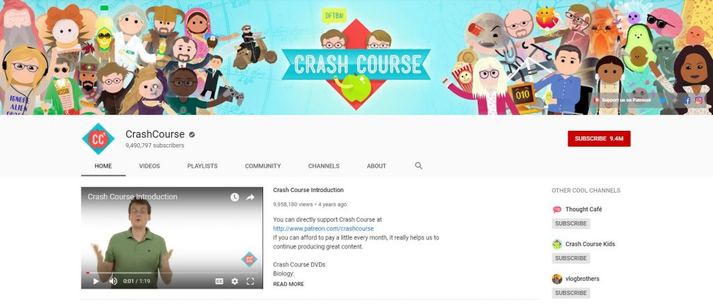 Educational YouTube Channels - Crash Course
