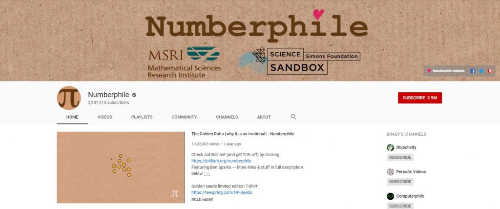 Educational YouTube Channels - Numberphile YouTube Channel