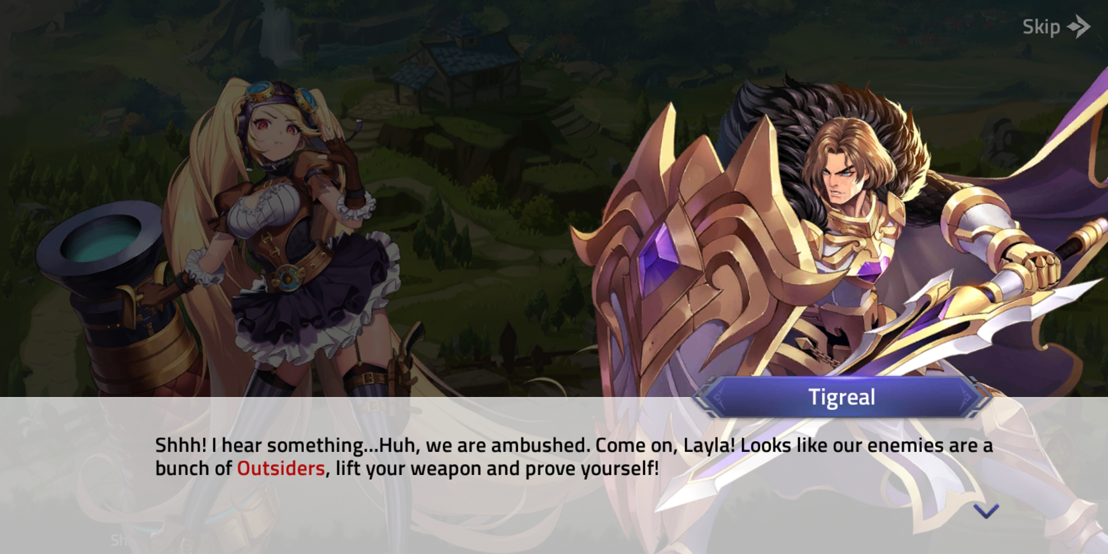 Screenshot of new mobile legends game; Layla and Tigreal's conversation in Mobile Legends: Adventure