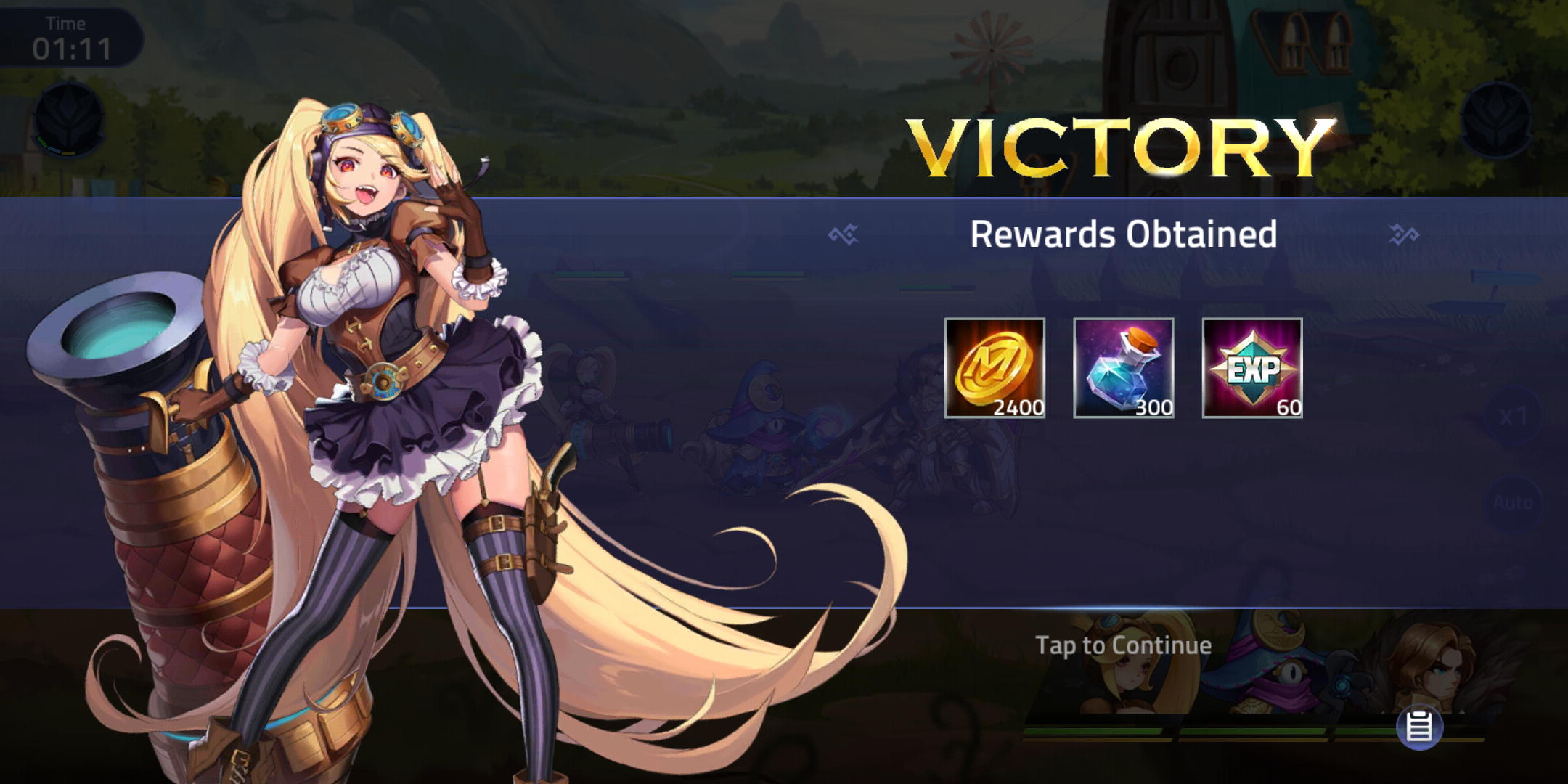 Screenshot of a battle win in Mobile Legends: Adventure