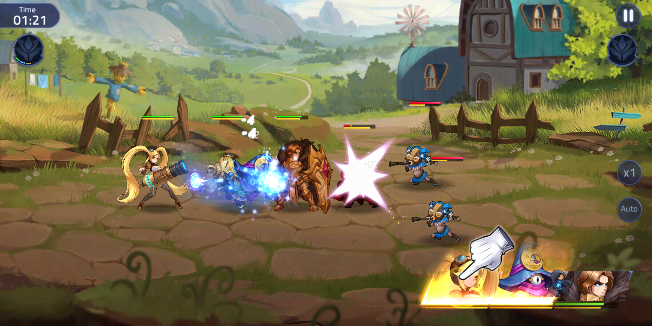 Screenshot of heroes and opponents fighting in Mobile Legends: Adventure