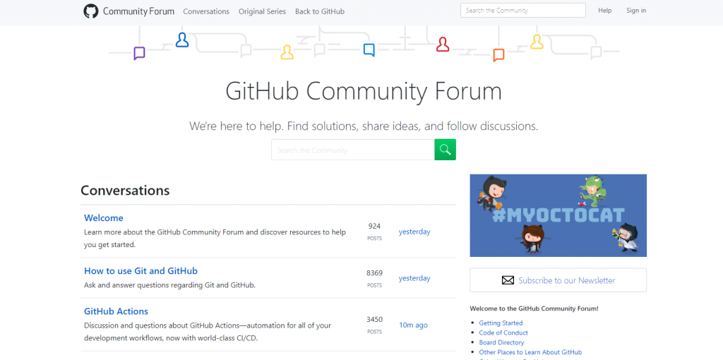 A screenshot of github community forum that has over 20 million users