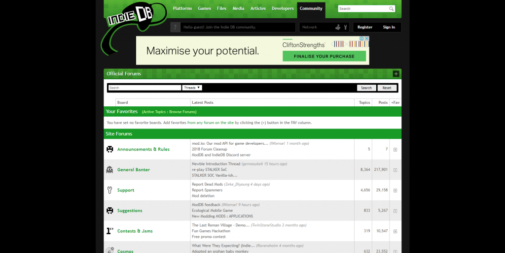A screenshot of indiedb game dev forum that offers an array of game dev topics