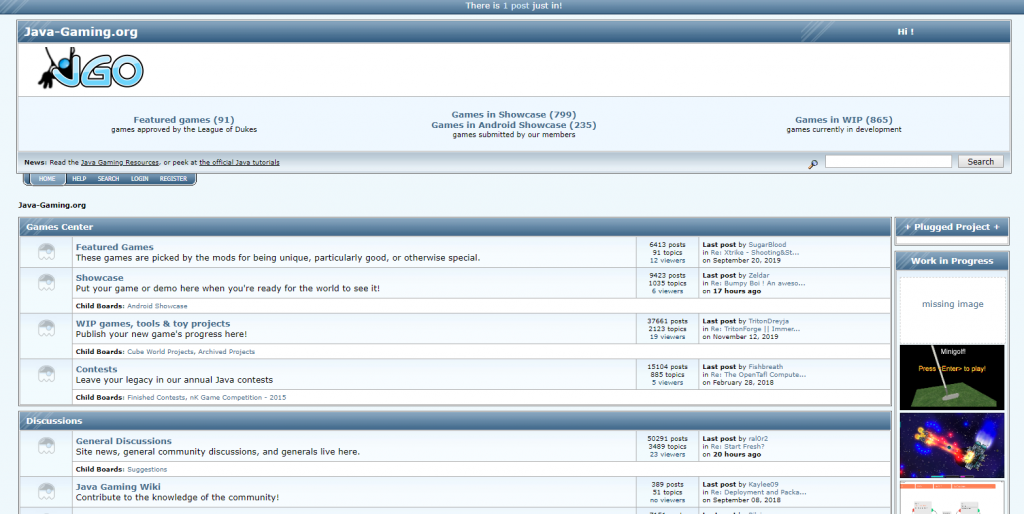 A screenshot of java gaming game development forums