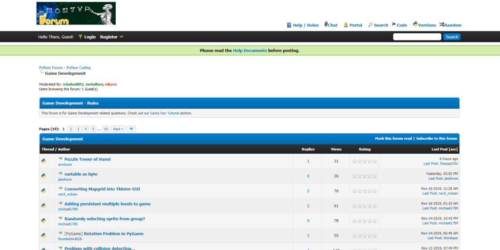 A screenshot of python forum that is popular programming language