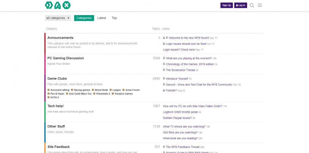 A screenshot of rock paper shotgun forum site that has a neat interface