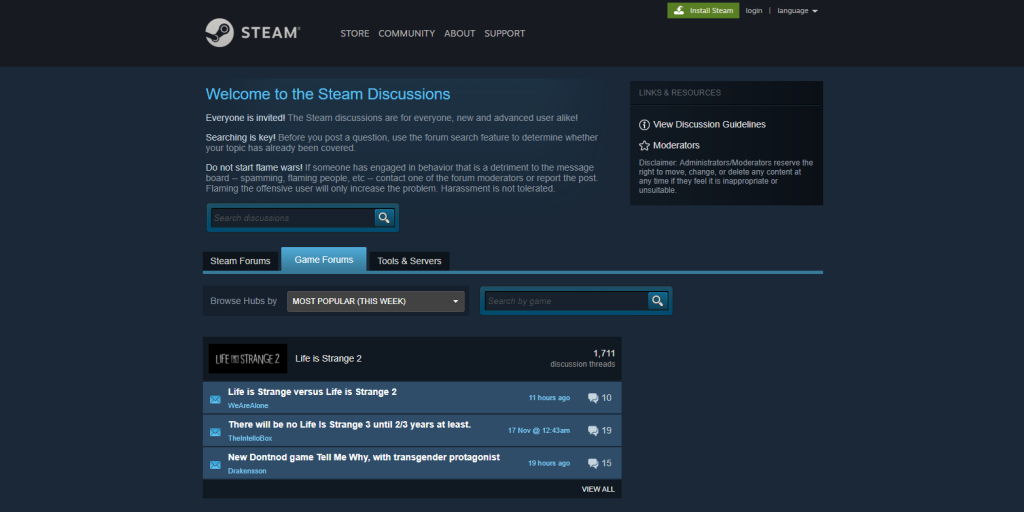 A screenshot of steam forum community that provide contents, programming tips and guides