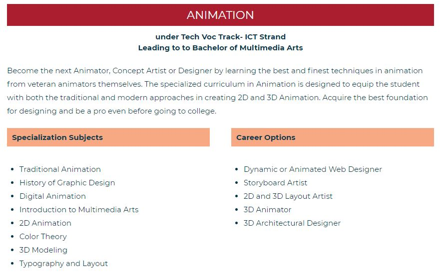 CIIT Philippines' K12 track for animation subjects and career options