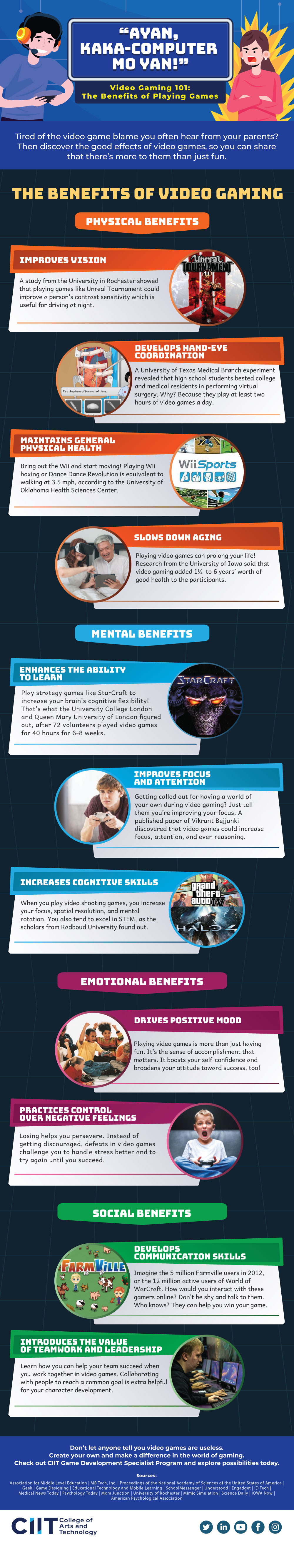 Infographic of the top benefits of video gaming