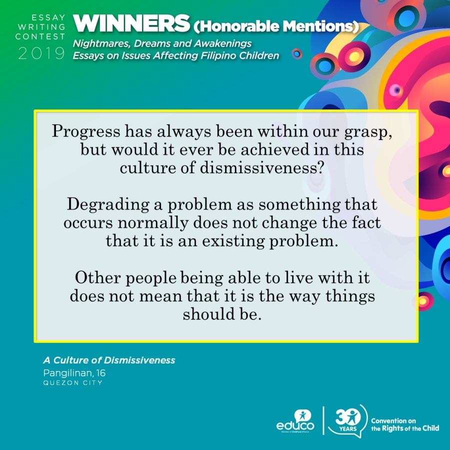 EDUCO Philippines Essay Writing Contest Honorable Mention