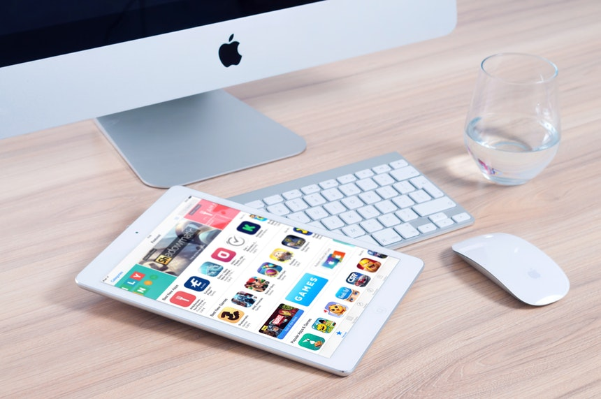 App store shown in an iPad for web and mobile application development testing