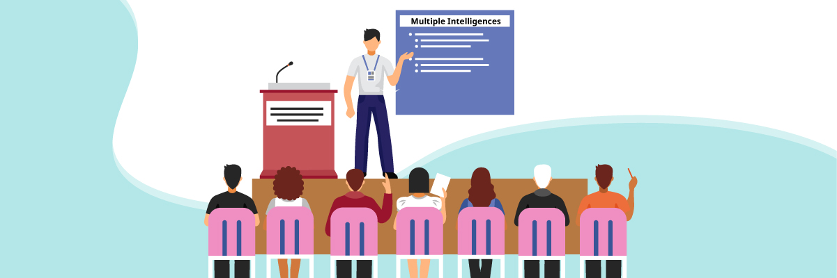 Multiple intelligences – A word-smart presenter discussing in front of a group of people