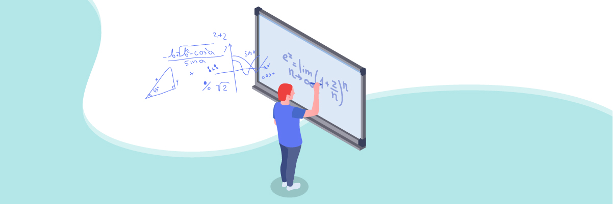 Multiple intelligences – A number-smart male student solving mathematical equations on a whiteboard