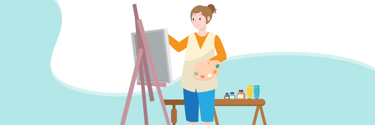Multiple intelligences – A visual-smart female artist painting on a canvas