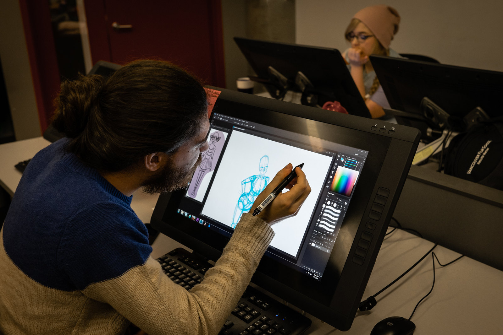 Students learning about different 3D animation types and techniques