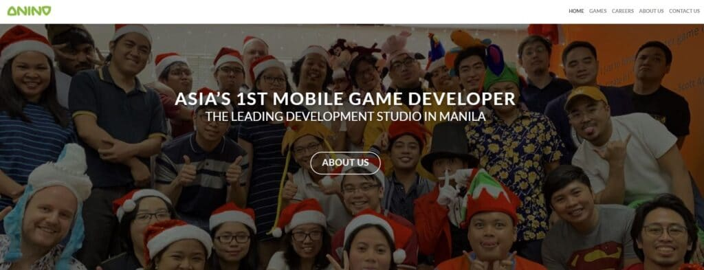 Anino homepage showing its game developers and designers posing for a group photo